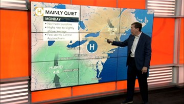 Turning warmer and more humid in the East then Barry's rains are coming