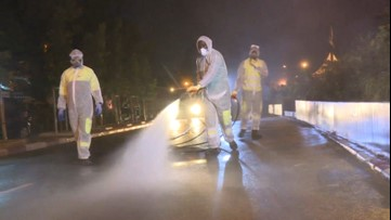 Roads sprayed down with disinfectant after COVID-19 death