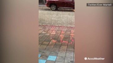 Downtown Los Angeles hit with pea-sized hail and torrential downpour
