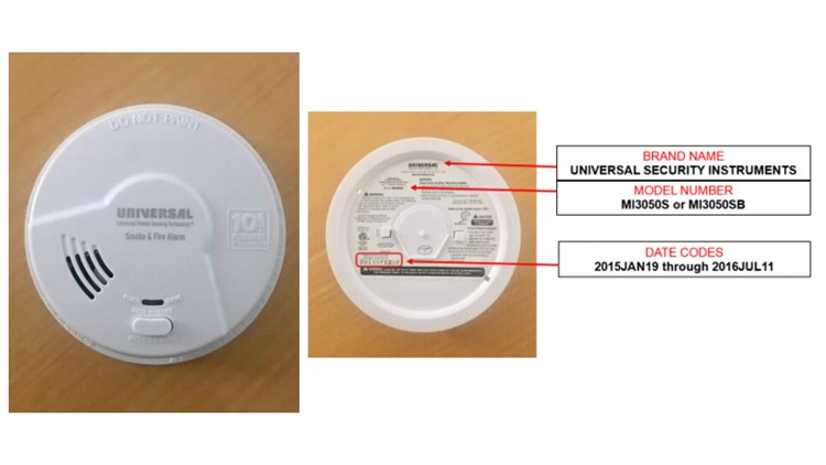 Recalled Universal Security Instruments smoke alarm