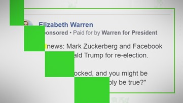 VERIFY: Why Warren made an ad falsely claiming Facebook endorsed Trump