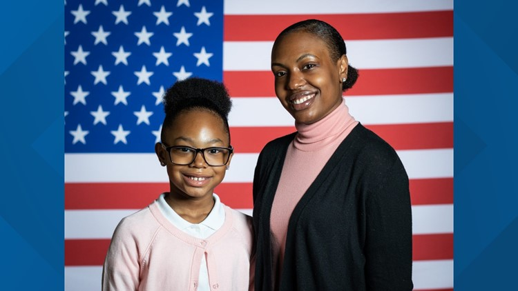 Stephanie and Janiyah Davis from Philadelphia, Pennsylvania (White House)