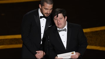 Shia LaBeouf and 'Peanut Butter Falcon' co-star Zack Gottsagen present at 2020 Oscars