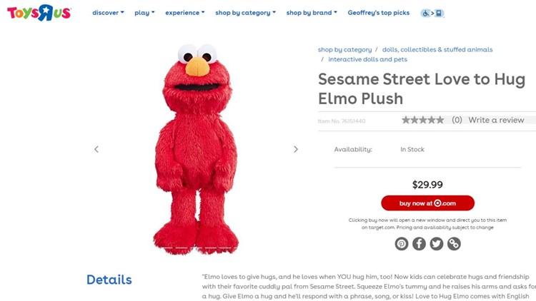 Elmo Toys R Us website