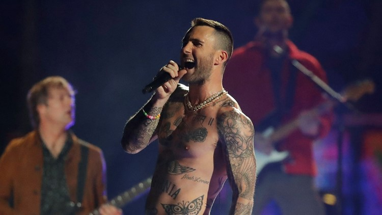 Patriots Rams Super Bowl Football Adam Levine shirtless