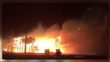Homes destroyed by wind whipped fire on Bolivar Peninsula
