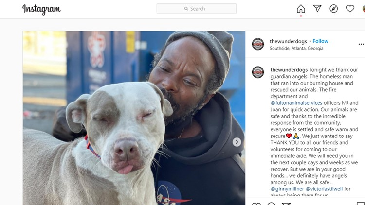 Homeless man rescues every animal after Georgia shelter catches fire