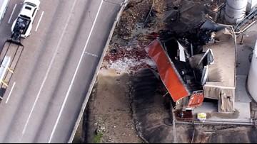 Watch Live: 18-wheeler flies off Houston bridge, lands upside down