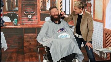 Super Bowl MVP Julian Edelman lets Ellen shave his beard for charity