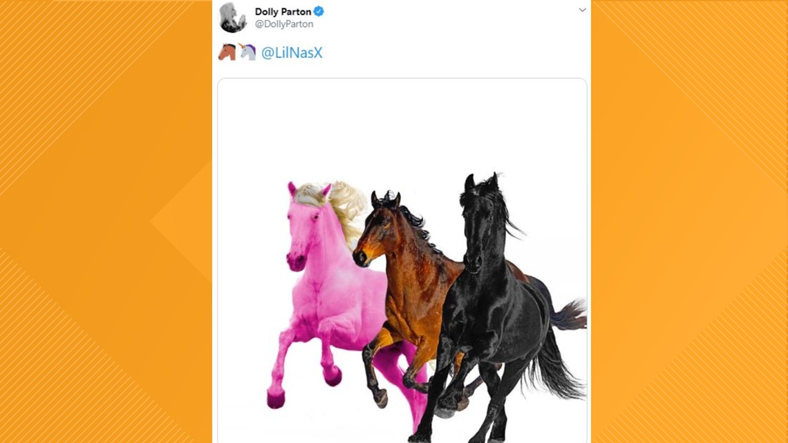 Old Town Road (feat. Dolly Parton)?! Dolly sends Twitter into a frenzy by tweeting a pink horse at Lil Nas X