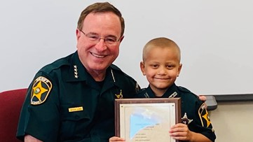 Preschooler fighting cancer becomes honorary Polk County deputy for a day