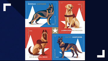 Postal Service honoring working military dogs in new Forever Stamps