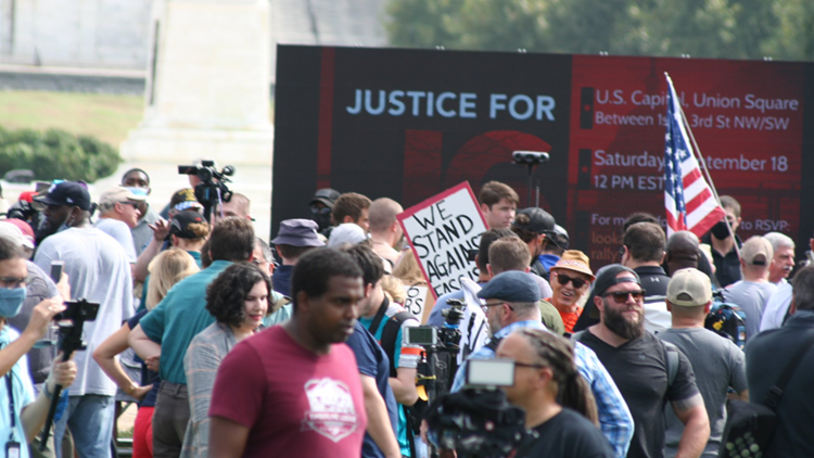 Hundreds attend revisionist 'Justice for J6' rally at US Capitol while Trump distances himself from event