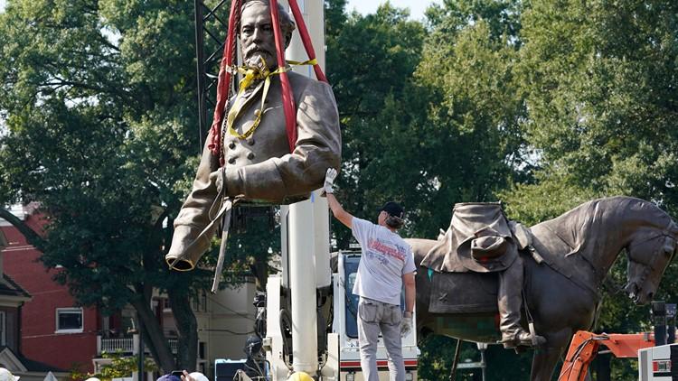 Massive statue of Gen. Robert E. Lee comes down in Virginia's capital