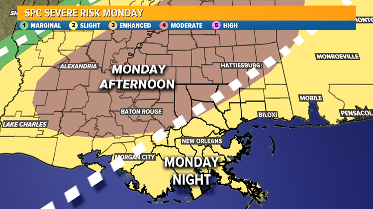 Severe Weather Possible Monday afternoon and evening.