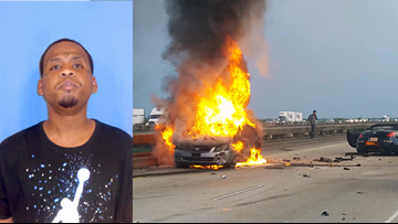 LSP: Man arrested after ditching stolen car, causing fiery crash on I-10