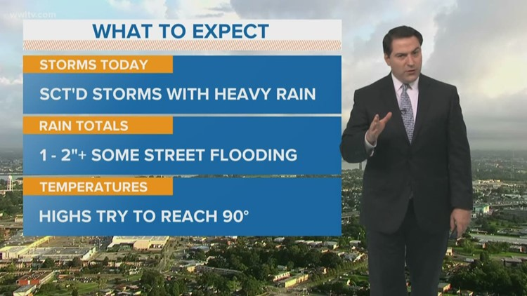 New Orleans Weather: More scattered storms with some heavy rain