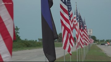 'Sea of flags' placed ahead of funeral for deputy killed in crash