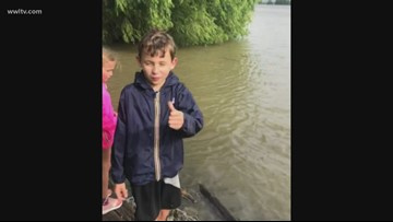 Cute! A young weatherman in the making ahead of Tropical Storm Barry