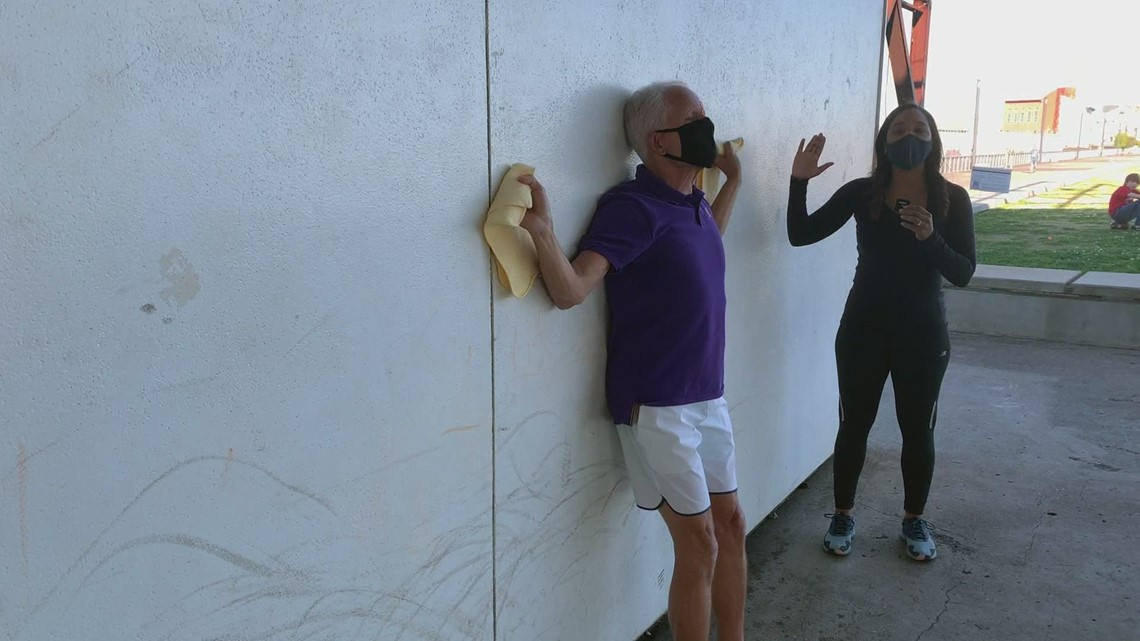 Workout Wednesday: Mackie Shilstone performs a wall slide for improved balance & posture