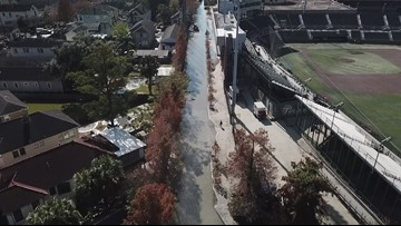 Aerial footage of flooding in Uptown New Orleans