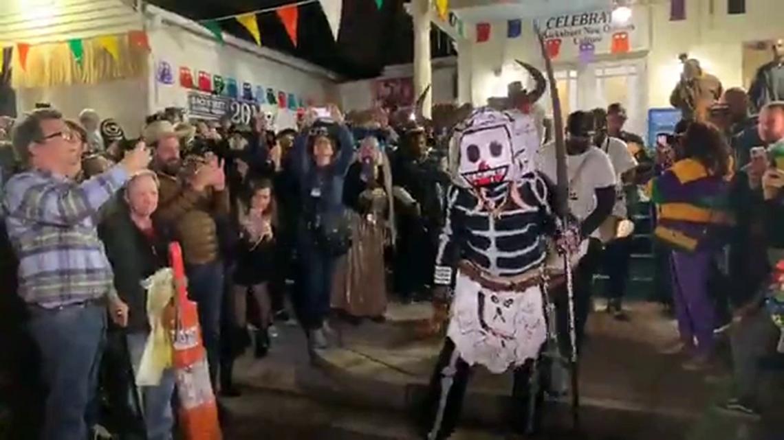 Skull and Bone gang march through Treme for Mardi Gras 2020