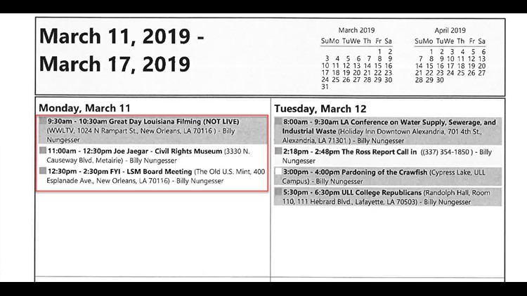Nungesser Schedule for March 11