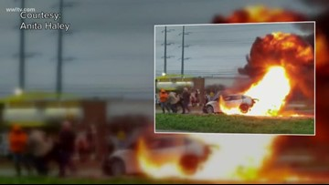 'She's going to die:' 4 men pull woman out of burning car