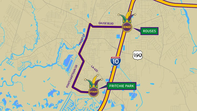 Krewe of Titans 2020 parade route