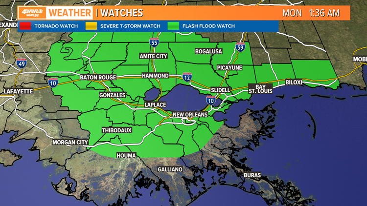 Flash flood watch issued through Monday morning as rain moves in