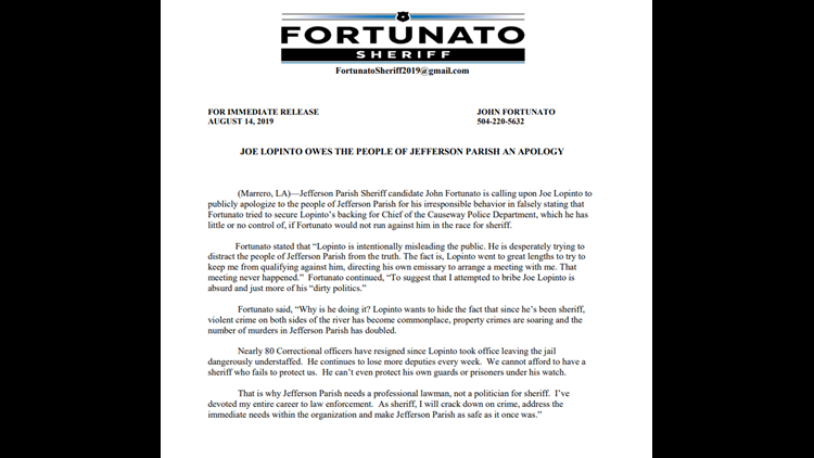 Fortunato's full statement demanding an apology from Sheriff Joe Lopinto