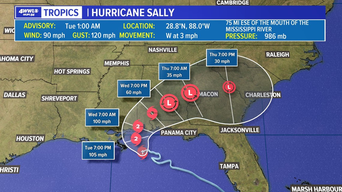 Tracking Tropical Storm Sally: Latest forecast track and ...Hurricane Sally Update
