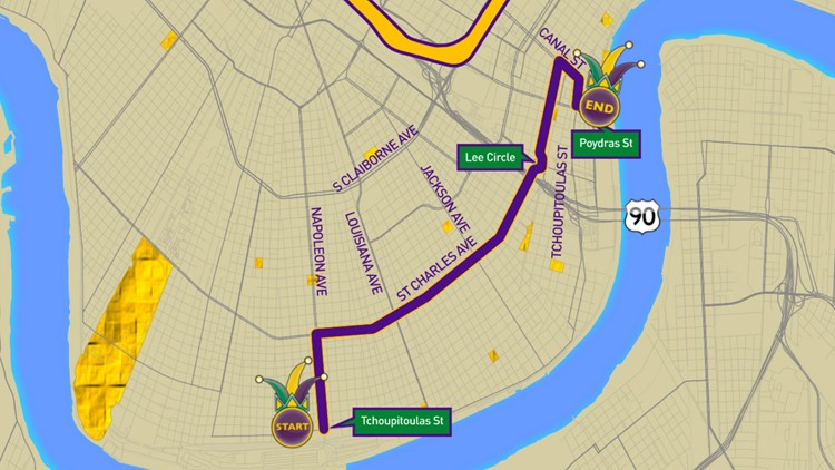 Krewe of Alla/Mars 2020 parade route