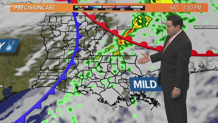 Pinpoint Forecast: Brief warm-up on Saturday with some rain, then colder on Sunday