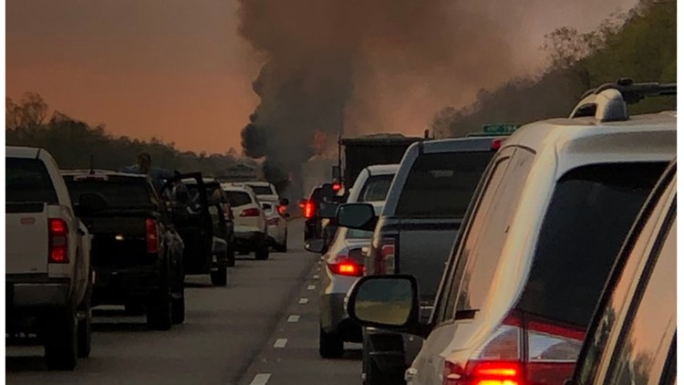 I-10 east re-opened after car fire involving corrosive material near Gramercy exit