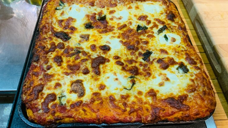 Cast iron skillet pizza recipe from Chef Dee Lavigne