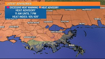 Heat advisory for most of Louisiana until 7 p.m. Friday