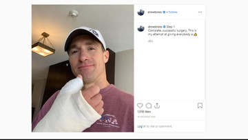 Drew Brees gives thumbs up after surgery