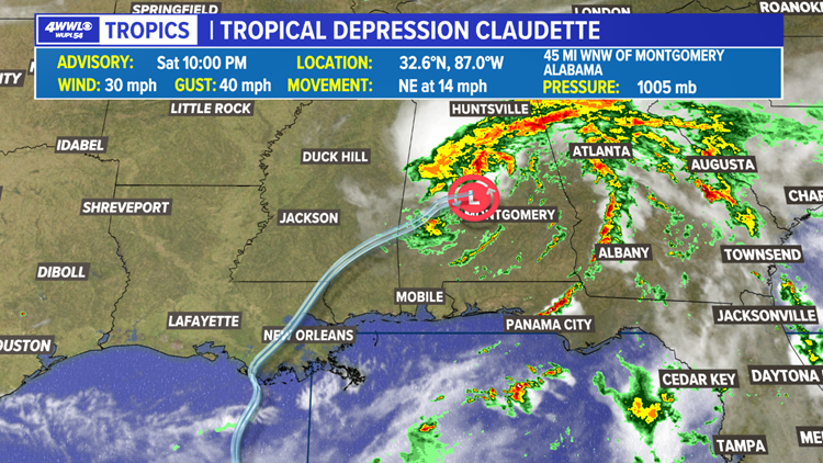 Tropical Depression Claudette moves across Alabama