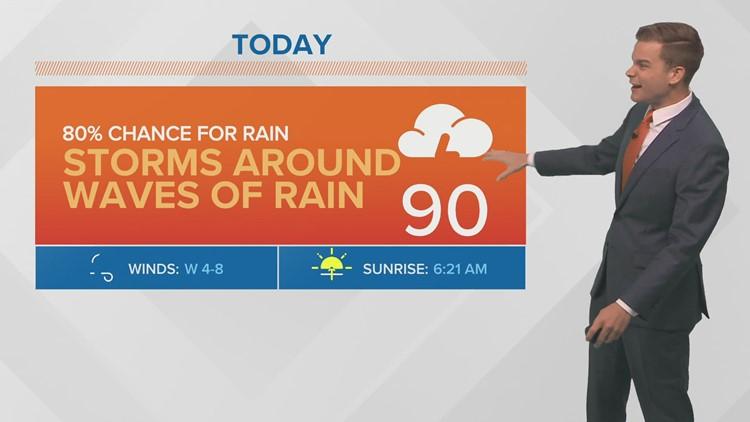 Monday Forecast: Trading heat for rain, tropics remain quiet
