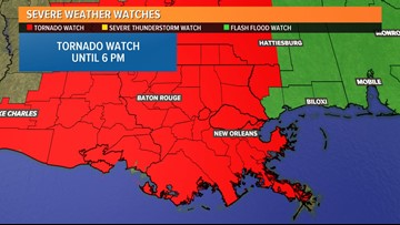Tornado Watch issued for southeast Louisiana until 6 p.m.
