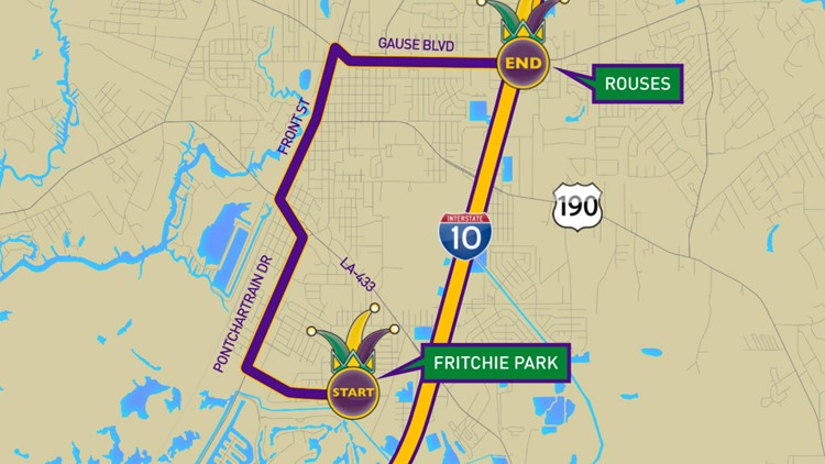 Krewe of Slidellians 2019 parade route