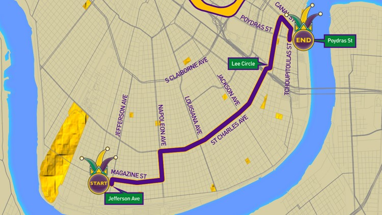 Krewe of Cleopatra 2020 parade route