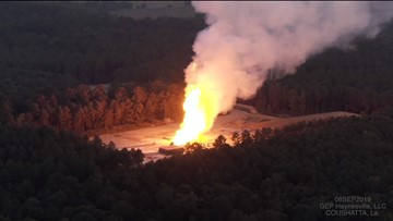 Natural gas well explodes in Louisiana