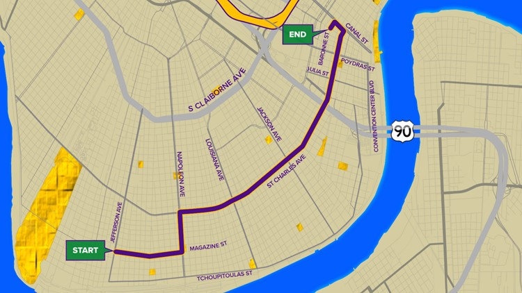 Krewe of Hermes 2020 parade route