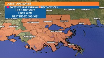 Heat advisory issued for Southeast Louisiana until 6 p.m.