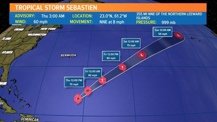 Tropical Storm Sebastien forecast to become a hurricane Thursday