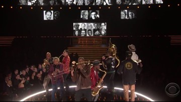 Grammy's 'In Memoriam' ends with Second Line from Trombone Shorty, Preservation Hall Jazz Band