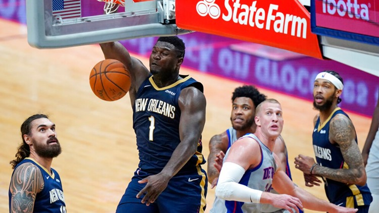 Zion continues hot streak, leads Pels past Pistons