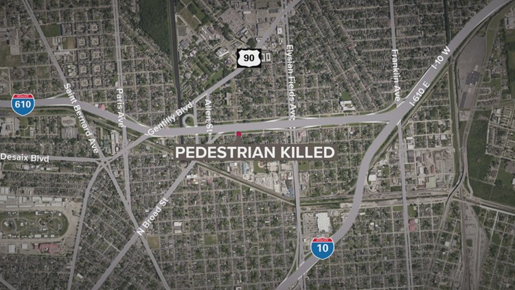 Pedestrian knocked over I-610 guardrail, killed Sunday morning